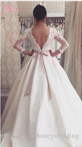 Elegant 2017 Plus Size Wedding Dresses With Jewel Neck 3/4 Sleeves Lace Appliques Ruched Wedding Gowns Cheap Custom Make Vestidos De Noiva