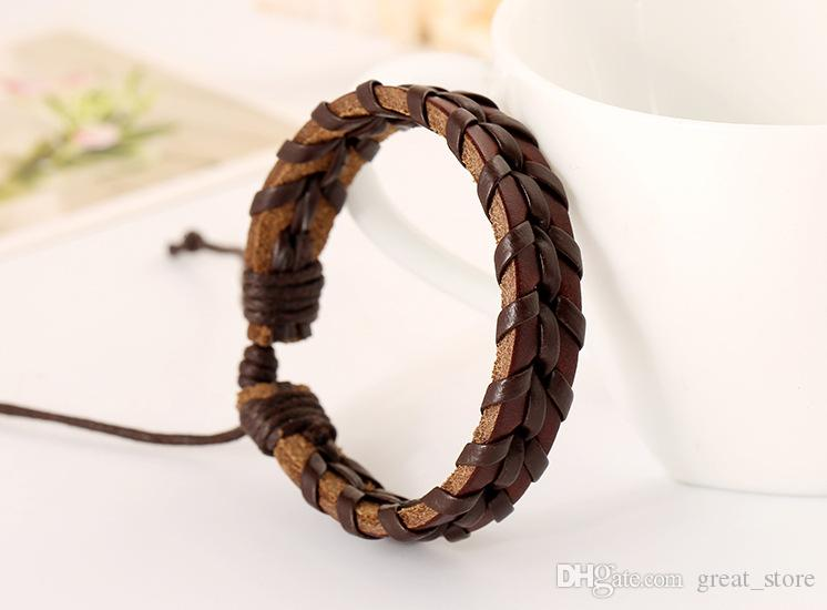 O envio gratuito de couro artesanal Pure costura pulseira casal personalidade selvagem moda FB458 ordem da mistura de 20 peças muito Slap Snap pulseiras
