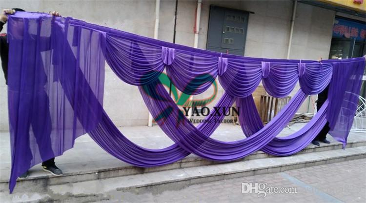 Gold Or Purple Color Swag Drape Curtain Fit For 3m*6m Wedding Backdrop