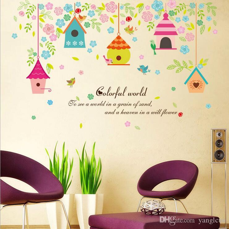 office wall stickers. New Colorful Bird House Flowers Stickers Wall Sticker Home Decoration Office Kids Room Baby Banksy From I