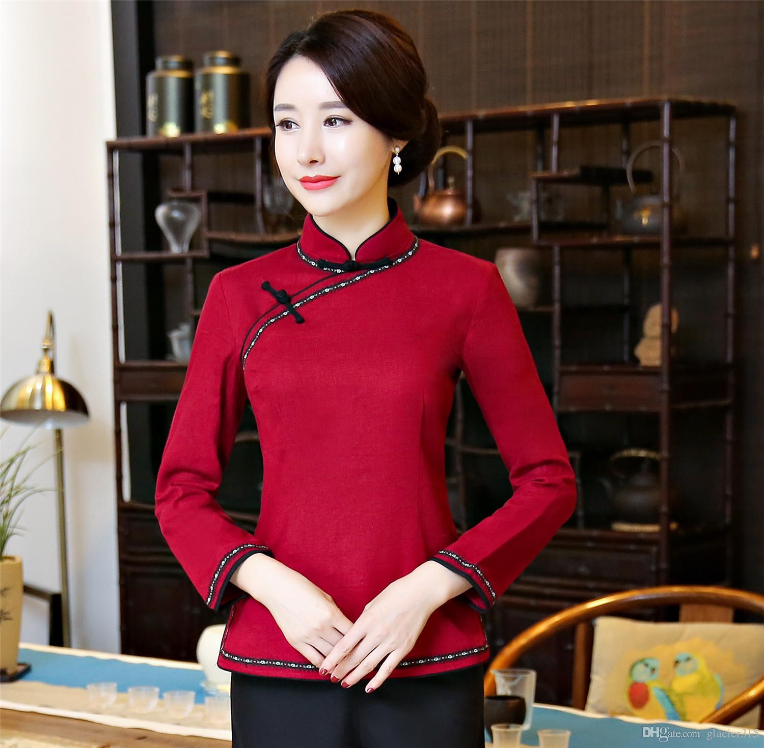 7e0f0881b8fb Shanghai Story Chinese Standing Collar Woman s Shirt Chinese Traditional Top  Long Sleeve Cheongsam Top Chinese Linen Blouse Chinese Traditional Clothing  ...