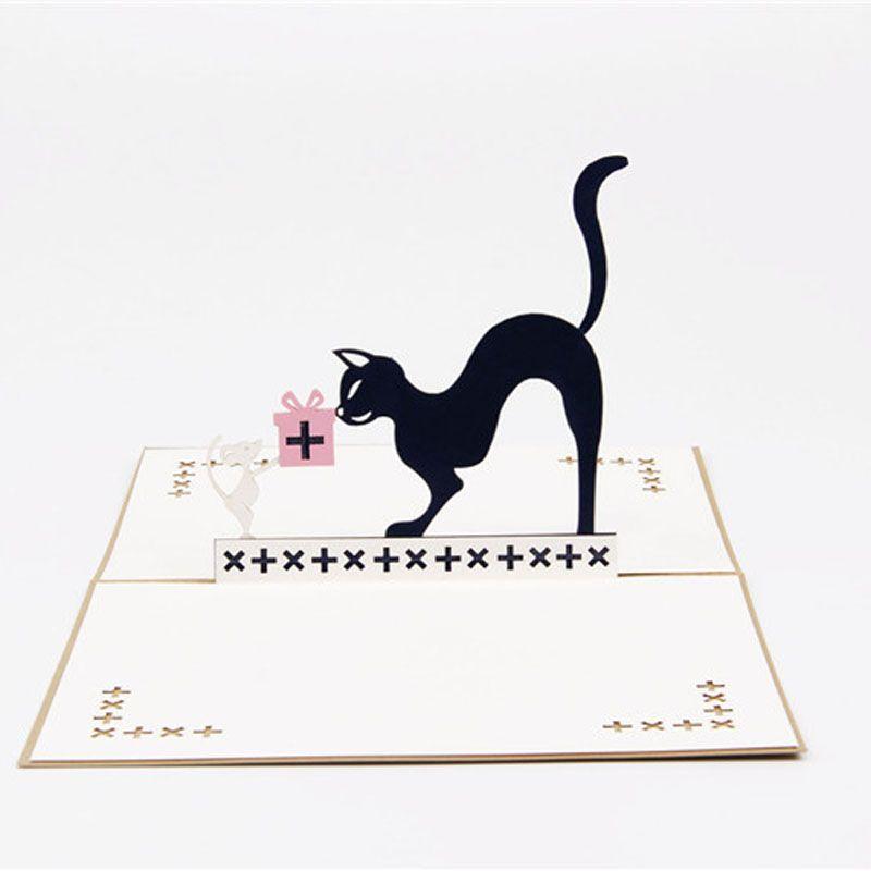 Handmade Origami 3d Pop Up Mousecat Birthday Greeting Card Cartoon