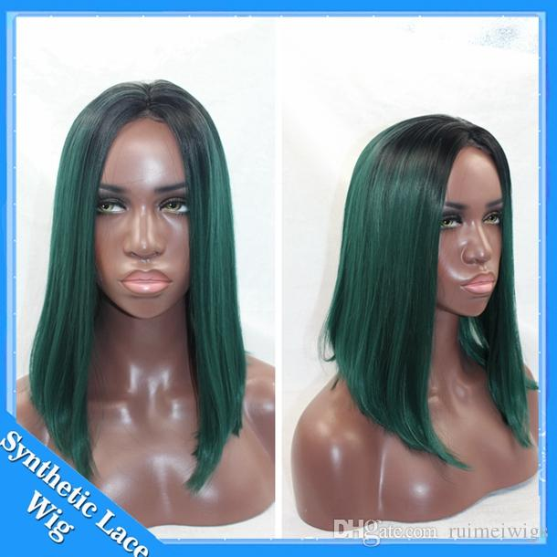 Cheap Hot Sale Heat Resistant Wigs Short Bob Wig Ombre Black to Green Synthetic Lace Front Wig Bob Cosplay wigs for Black Women