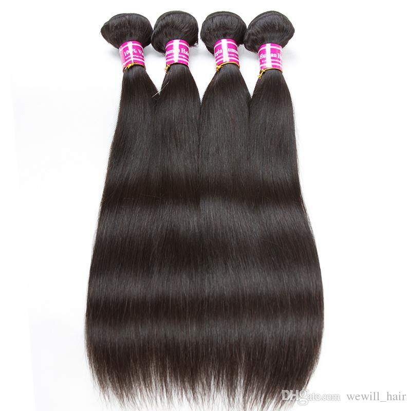I più venduti 10a tessuto dei capelli vergini brasiliani bagnato e ondulato corpo onda dei capelli tesse dritto peruviano estensioni dei capelli umani mix lunghezza