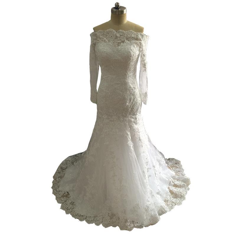 Incredibile foto reale Mermaid abito lungo 2018 nuovi abiti da cerimonia di arrivo abiti da sposa sposa abiti da sposa 2018
