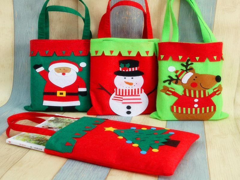 / Trasporto veloce nuovo Creativo Babbo Natale Maniglia Sacco Sacchetto regalo di Natale Decorazione 4 stili