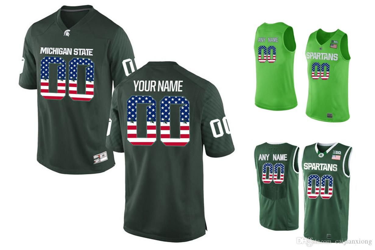 buy popular b7a10 793eb kids michigan state spartans customized green jersey