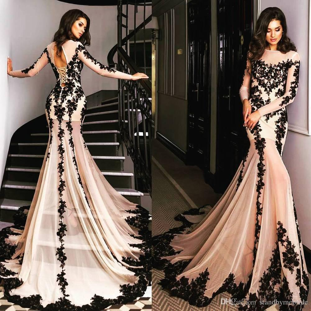2017 Champagne New Fashion Mermaid Evening Dresses Black Lace Appliques Sheer Crew Neck Long Sleeves Lace Corset Back Prom Party Gowns