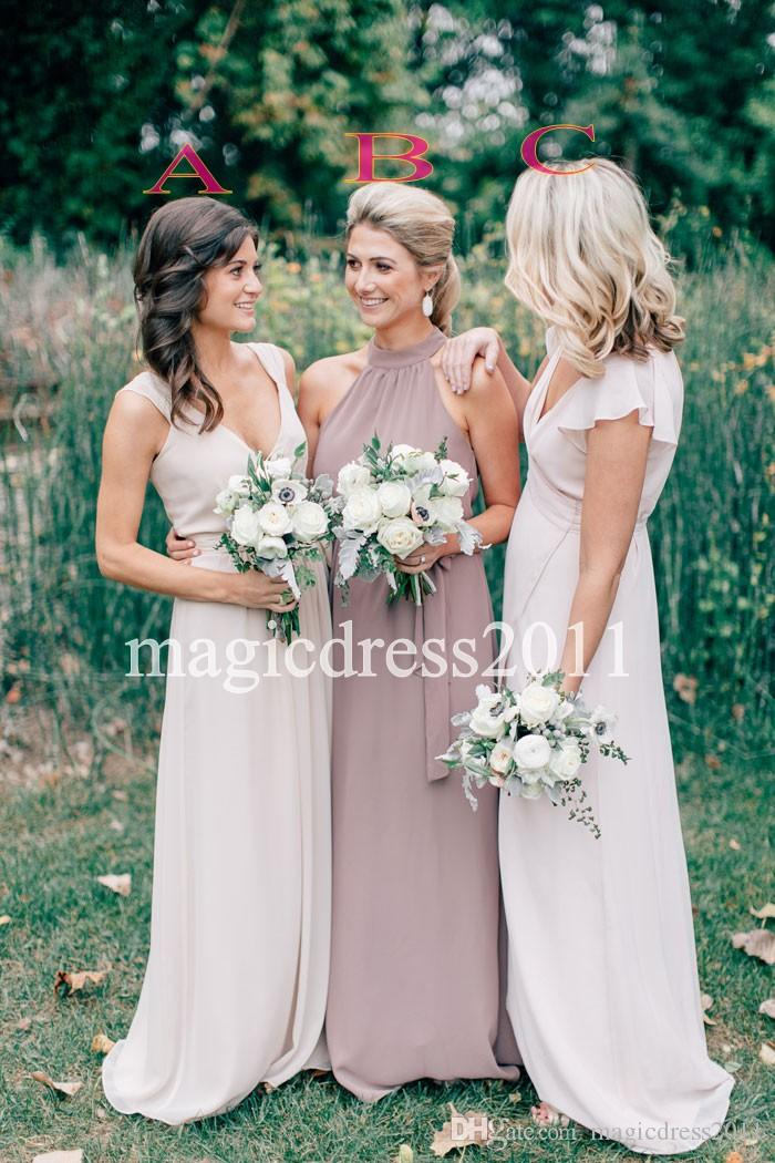 2019 Modest Cream Chiffon Ruffles Long V-Neck Bridesmaid Dresses Floor Length Open Back Boho Country Wedding Party Maid of Honor Gowns Forma