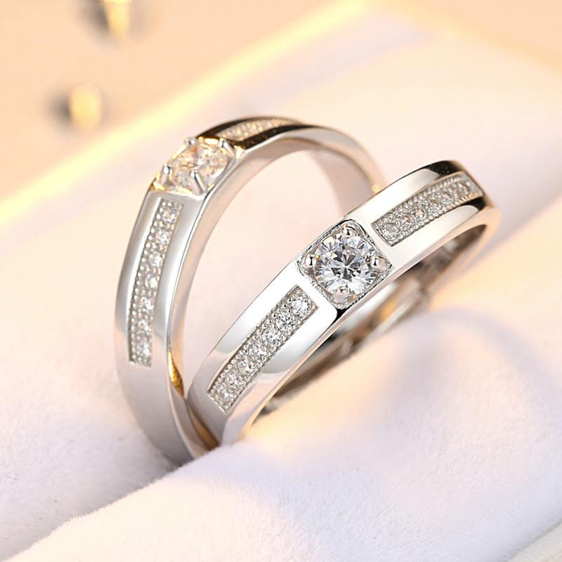 74cb42f2fb 2019 S925 Sterling Silver Opening CZ Diamond Ring Couple Rings Lovers  Zircon Ring White Gold Plated Wedding Rings Fashion Jewelry From  Xiangnanjewelry, ...