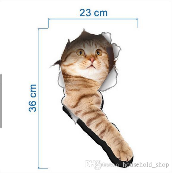 3D Wall Sticker Cats Dogs Printed Sticker for Kitchen Toilet Refrigerator Animal Decals Bathroom Living Room Home Decoration