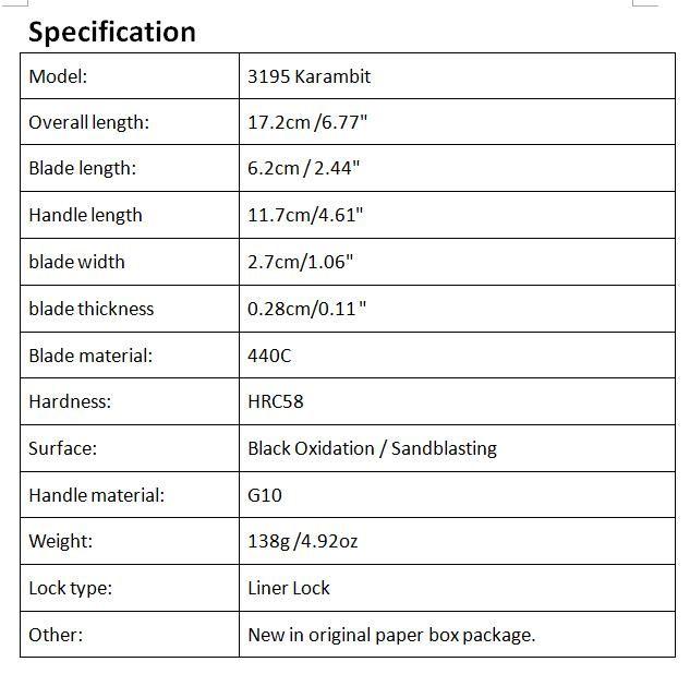 Sonderangebot Karambit Klaue Klappmesser 440C 56HRC Klinge Outdoor Survival Taktische Klappmesser mit Originalbox