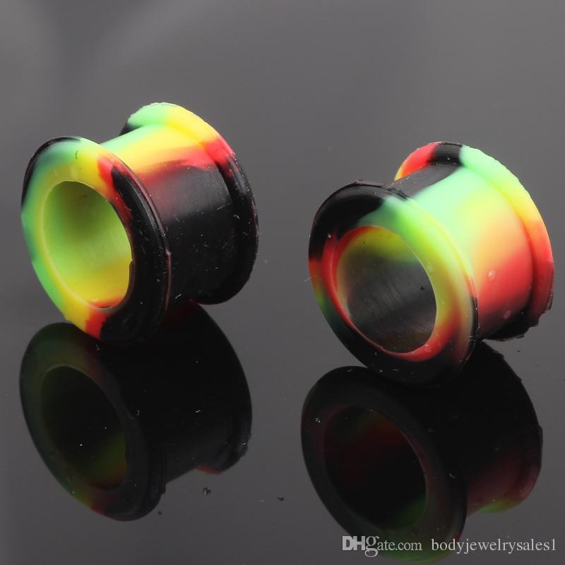 Tapones para los oídos de silicona Flared Fnelse Tunnel doble de silicona 4-25mm Calibrador del oído Expander Camilla Earlets Pendientes Ear Piecing