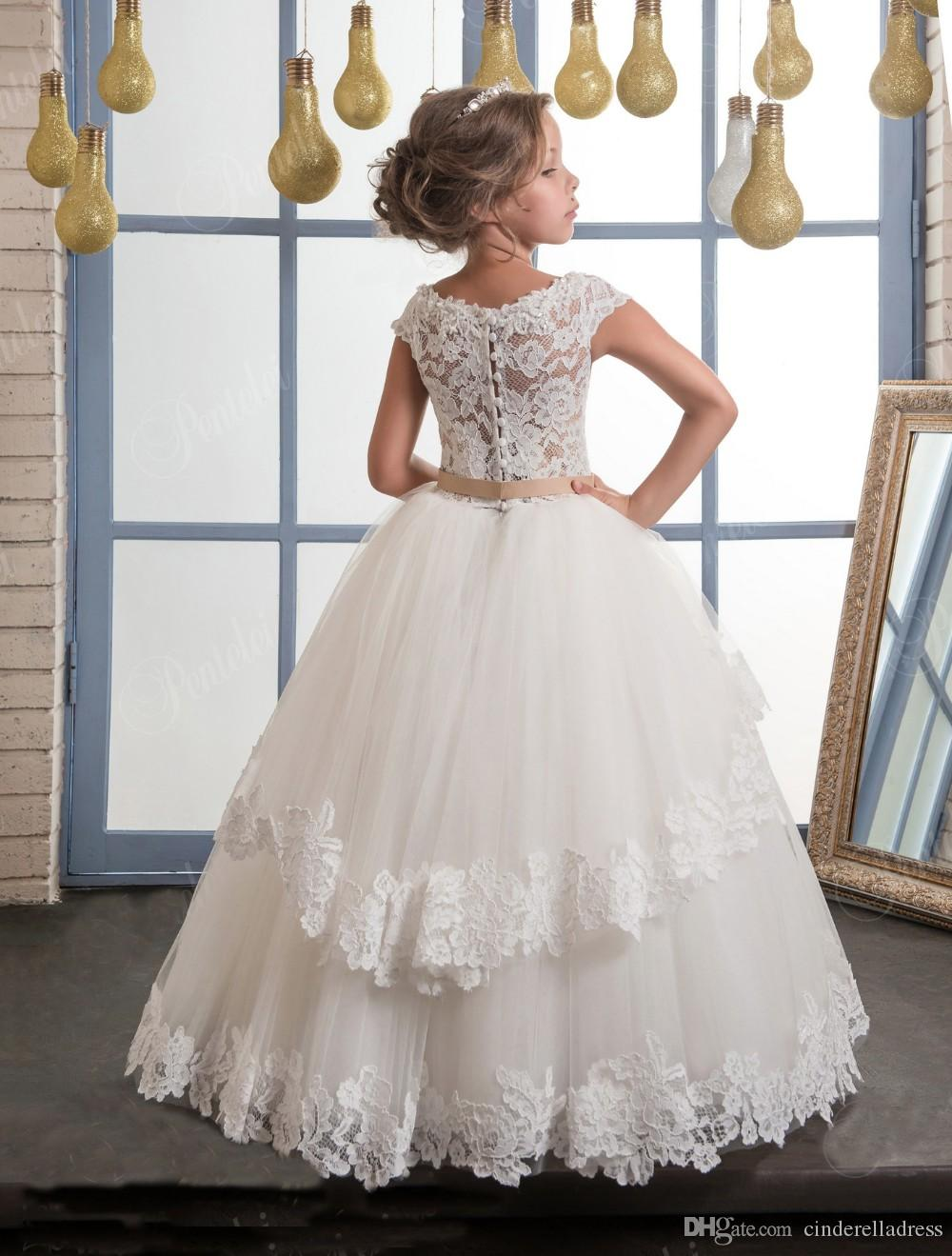 2017 Glitz Flower Girls Dresses Boat Neck A Line Lace Appliqued With Ribbon Belt Layers Skirts Long Kids Birthday Baby First Communion Dress