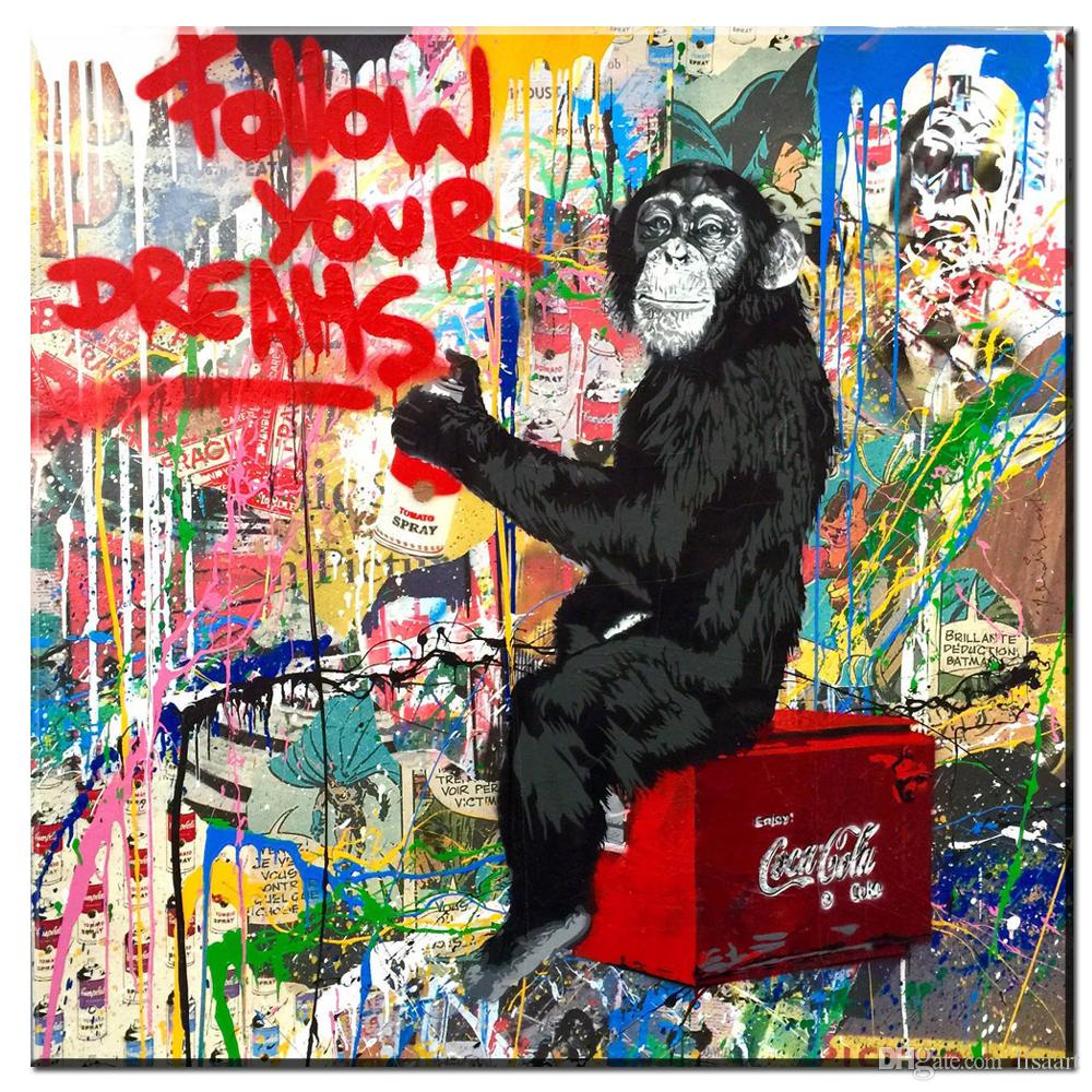 ZZ1486 graffiti banksy cópias da lona arte seguir o seu sonho dos desenhos animados da lona do macaco fotos pintura a óleo para sala de estar decoração do quarto