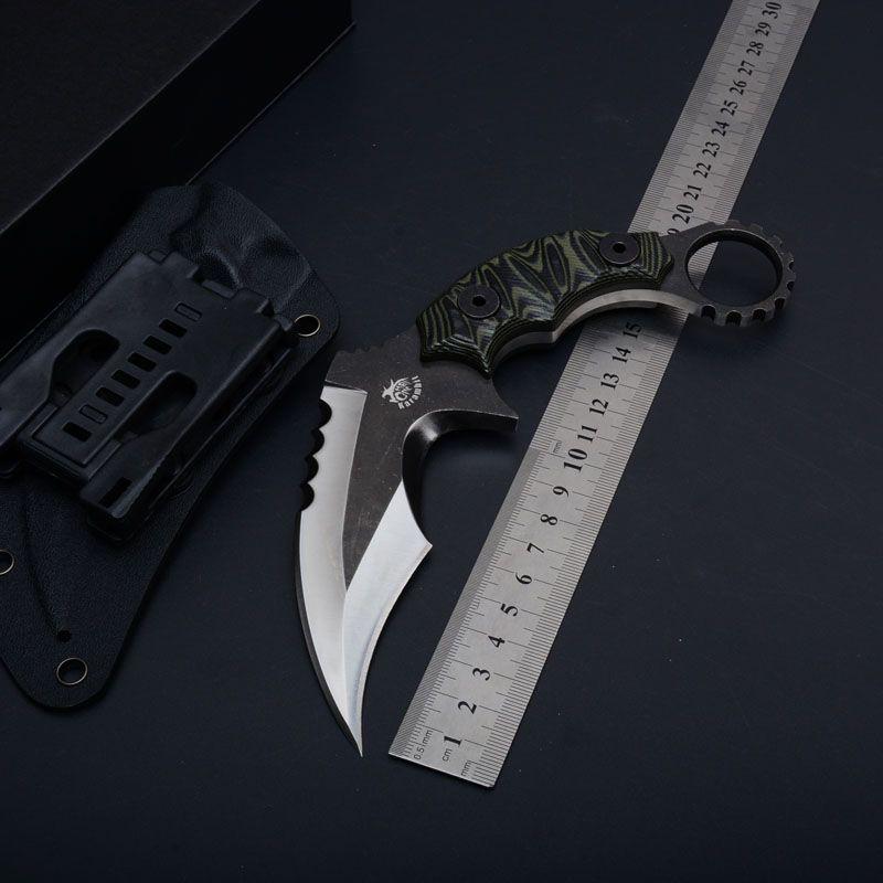 Brand New A garra karambit full tang D2 Lâmina de faca A +++ G10 lidar com projeto de aço frio 49ks facas de acampamento ao ar livre ferramenta de corte