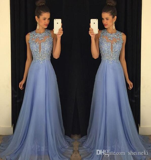 2K17 Chiffon Sexy Sheer O Neck A Line Lace Applique Beaded Long Prom Dresses Maroon Lavender Sleeveless Backless Floor Train Jenner Dresses