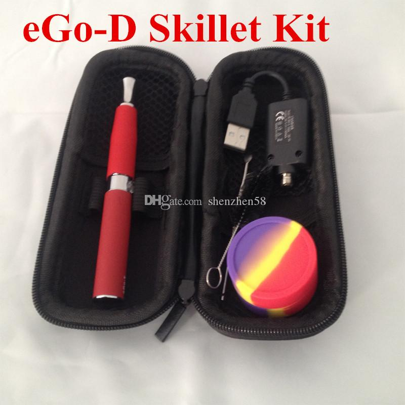 EGO kit sartén de hierbas secas Atomizador Ego-D Kit con 650mah ego t batería Grill cera atomizador E vaporizador sólido EGO llevar cremallera