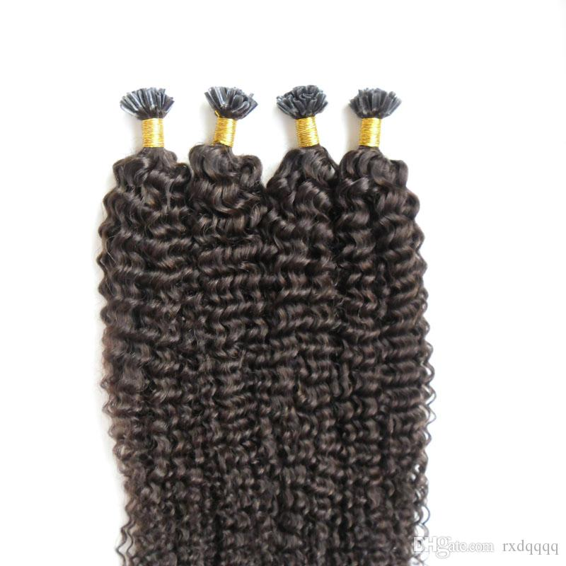 Estensioni dei capelli umani a punta di capelli ricci malesi 200g Prolunghe naturali pre-incollate di cheratina brasiliana capelli umani