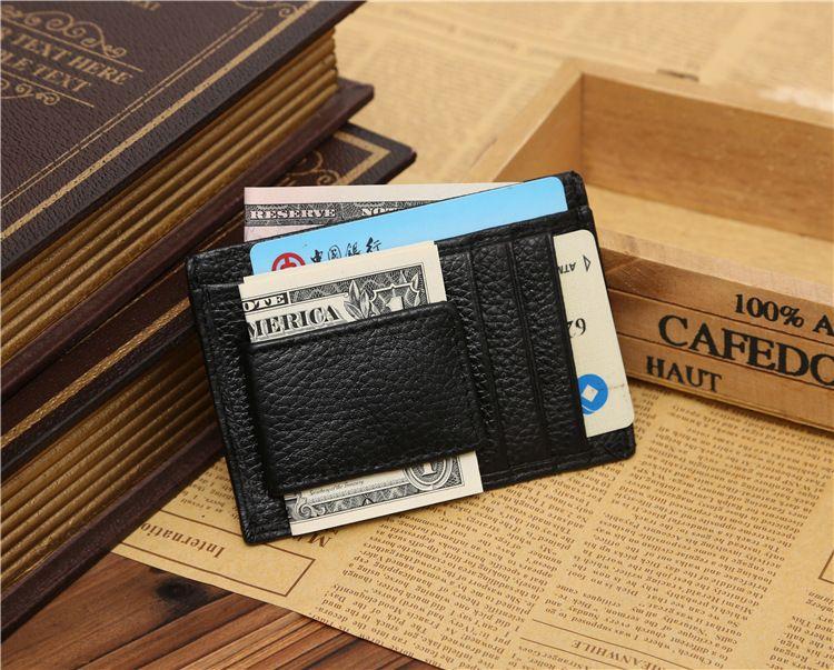 Money Clip Leather Wallet Clamp For Money Design Men Brand Leather Clip For Money Credit Card Holder MOQ