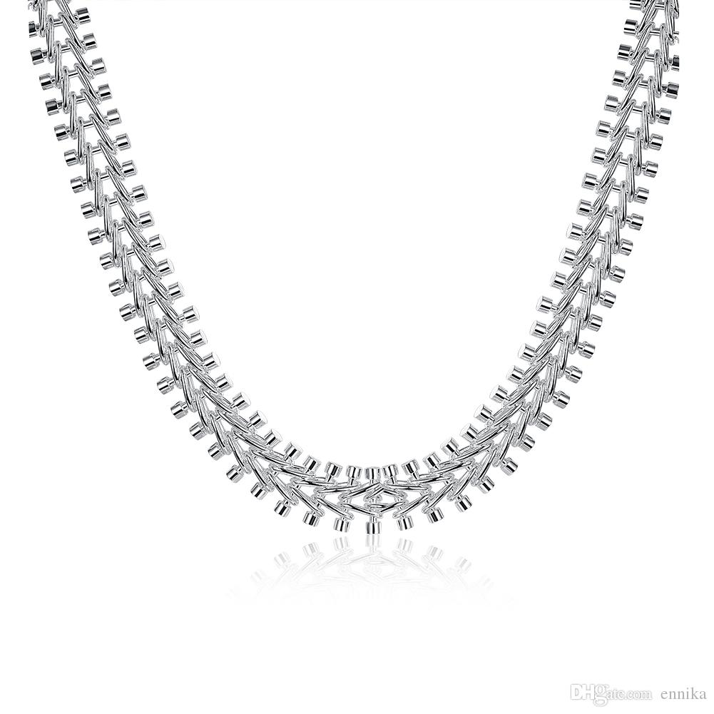 Hot Sale Shining Top Quality Men's Necklaces 925 Silver Jewelry 18inch width 12mm N166