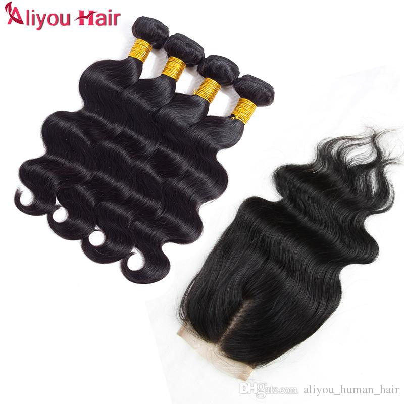 El pelo humano brasileño de la nueva onda del cuerpo de la llegada teje las extensiones 4 paquetes con el cierre del color natural libre de la parte media trama doble Dyeable