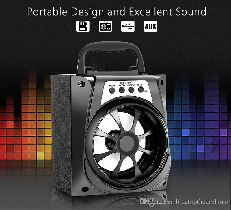 MS-133BT LED Wireless Bluetooth Portable Speaker with USB MP3 TF AUX Interface and FM Radio Outdoor Bass for Android Apple and PC