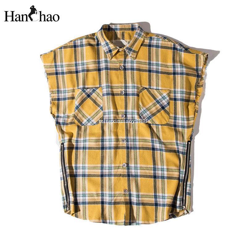 14b3f7584ba55 Side Zipper Plaid Flannel Shirt Men Sleeveless 2017Summer Oversize Hip Hop Shirts  Plus Size Blue Shirt Men Justin Bieber Clothes High Quality Flannel Shir ...