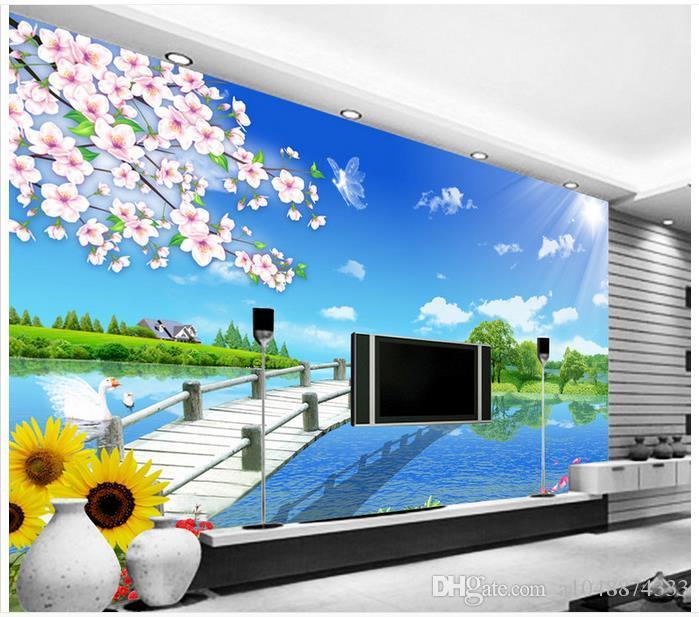 Hohe Qualität Benutzerdefinierte 3d foto tapetenwandbilder tapeten Ländliche pastoralen landschaft TV sofa hintergrund wandmalerei raum tapete decor