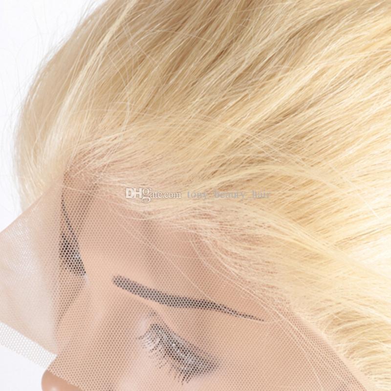 Capelli biondi peruviani 3 pacchi con 360 Frontal del merletto chiusura dell'onda del corpo # 613 Capelli vergini brasiliani con merletto del merletto frontale 4 pezzi lotto