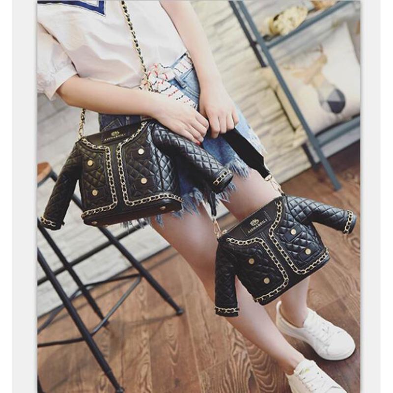 Brand New High Quality Quilted Jacket Handbag PU Coat Shoulder Bags fashion women bags stud McDonald Evening Bags - M003