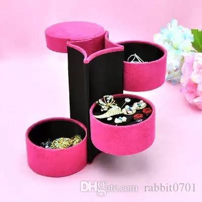 2018 3 Layers Round Jewelry Storage Boxes Bins For Necklace Ring