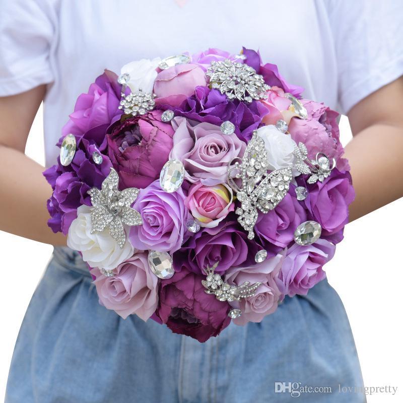 Wedding Purple Flowers: Artificial Purple Wedding Bouquets Handmade Flowers With