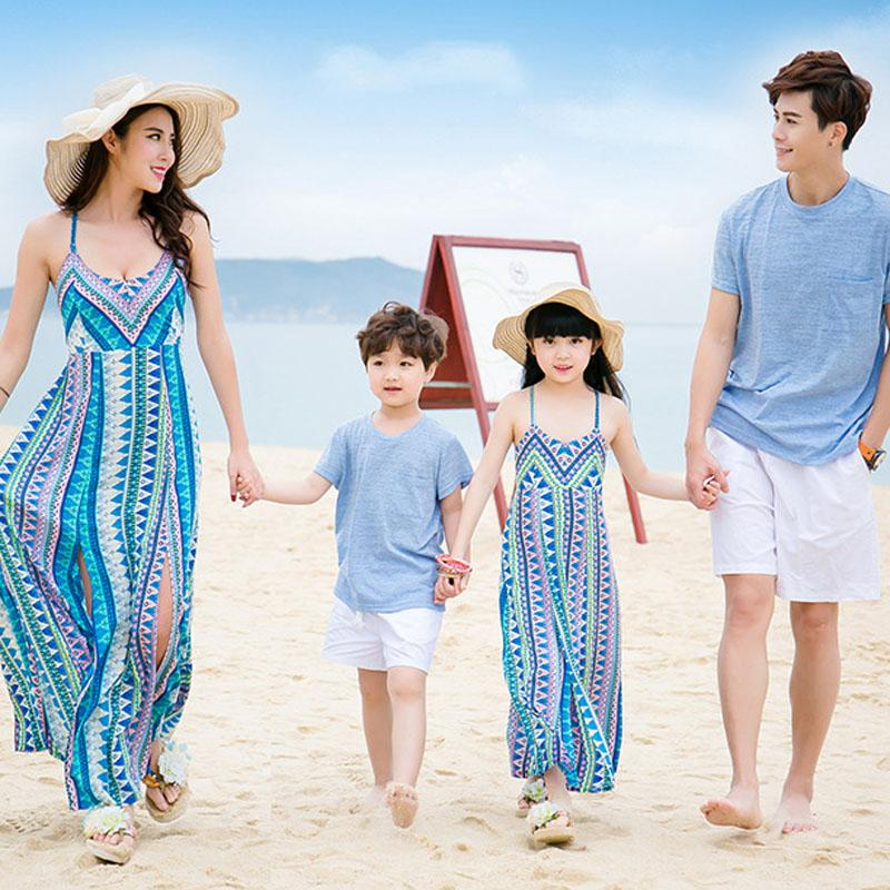 Family Matching Outfits Father Mother Daughter Son 2016 Summer Geometric Print Beach Dresses Family Look Dress Kids Clothes Set
