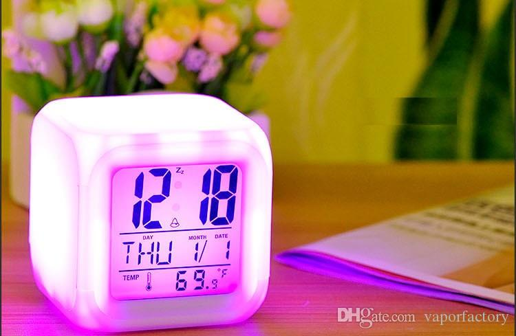 2018 To Usa 7 Led Color Change Flash Light Clock Children Kids New White  Square Cute Digital Alarm Clock Lazy Bed Bedroom Home Gift From  Vaporfactory, ...