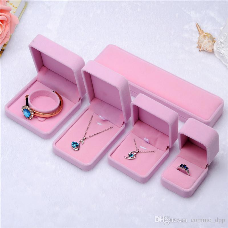패션 쥬얼리 상자 핑크색 - 화이트 벨벳 반지 귀걸이 펜던트 목걸이 팔찌 팔찌 클래식 쇼 럭셔리 팔각형 선물 상자 상자