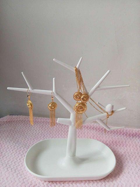 Regalo ~ Nappe all'ingrosso Set di gioielli di fascini 24K Placcato oro giallo Collana di orecchini Orecchini Dubai Set di gioielli africani
