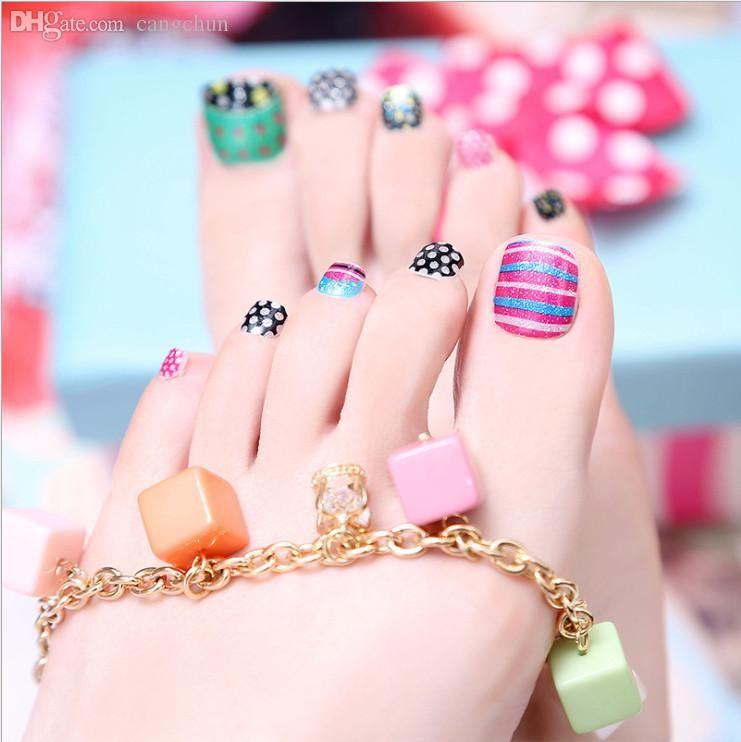 Wholesale Korea Cartoon Toe Nail Nail Foot Solid Green Waterproof ...