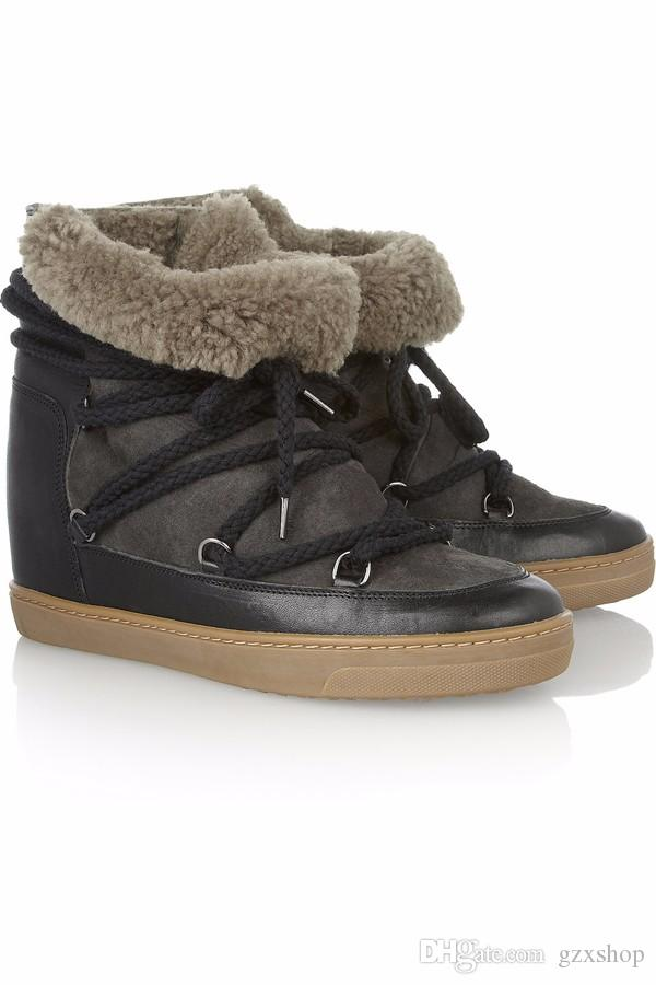2016 Winter Woman Fashion Snow Boots Front Lace Up Fur Ankle Boots For women Light Tan Waterproof Ladies Shoes