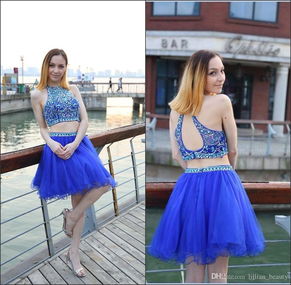 Sweet Beaded Rhinestone Homecoming Dresses Two Pieces Short Prom ...