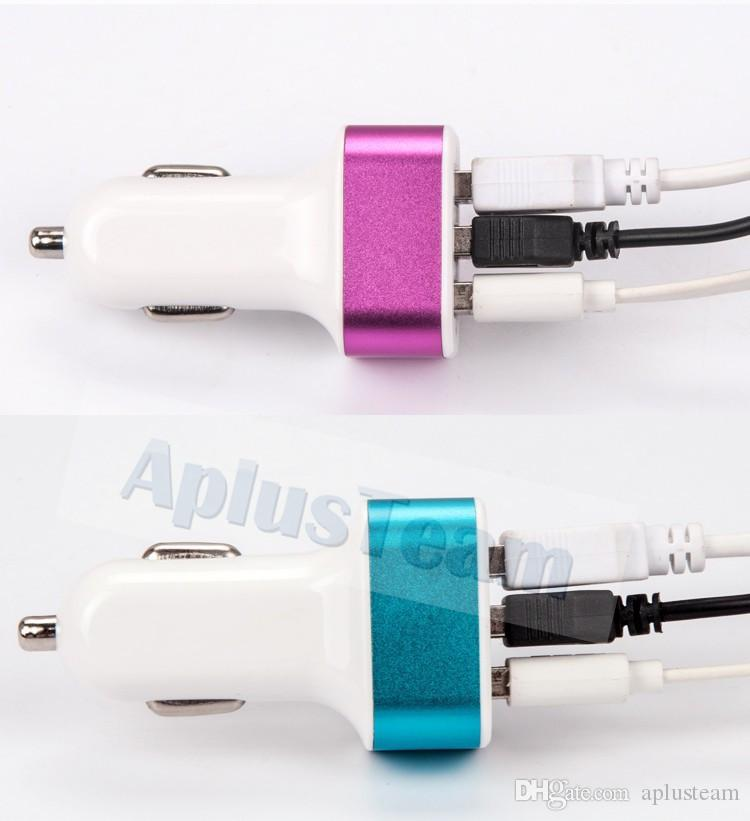 Colorful Mini 5V 2.1 A Micro 3 USB Car Chargers Universal Quick Auto Charging Adapter for iPhone7 Samsung S5 Xiaomi HTC Cell phone Charger