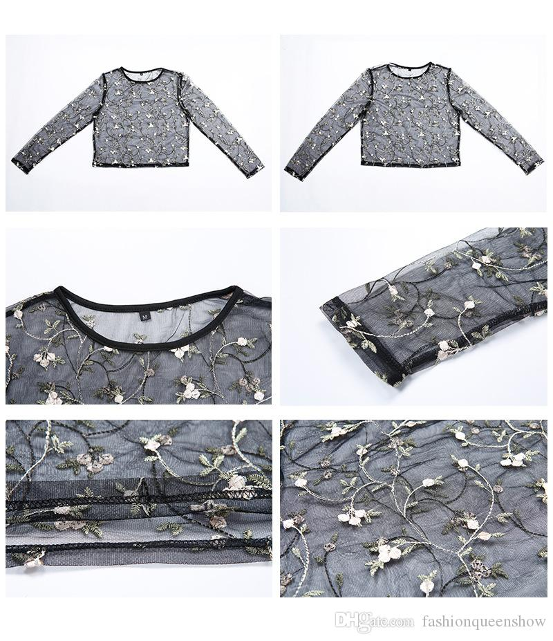Embroidered Little White Flower Pullover Women Black Crop Tops Sexy Perspective T-Shirts Long Sleeve O-neck Tops
