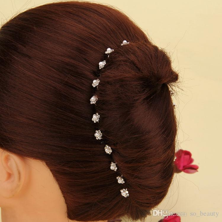 Faux Pearl RHINESTONE U-shaped Hairpins Wedding Bridal Hair Prom Pins Flower Girl Pin Small Size Multi Color