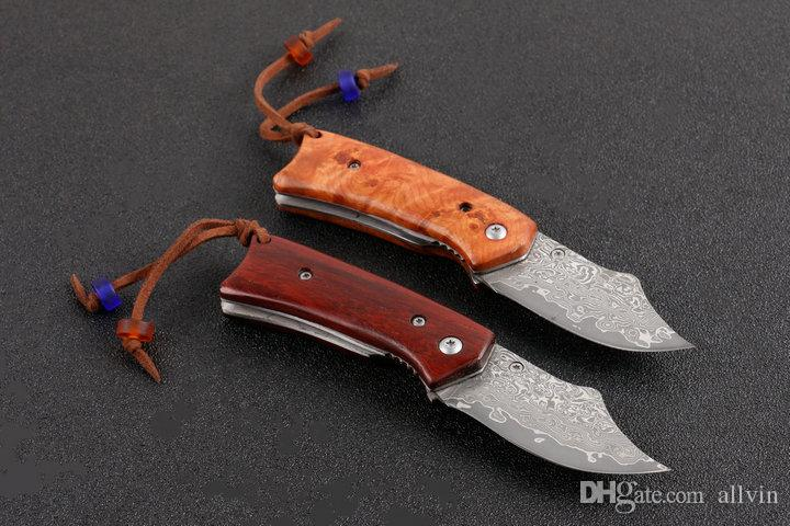 Küçük Şam Katlanır Bıçak Gülağacı Kolu EDC Cep Bıçaklar Naylon Torba ve Perakende kutusu Ile Çocuklar Için En Iyi Hediye EDC Araçları