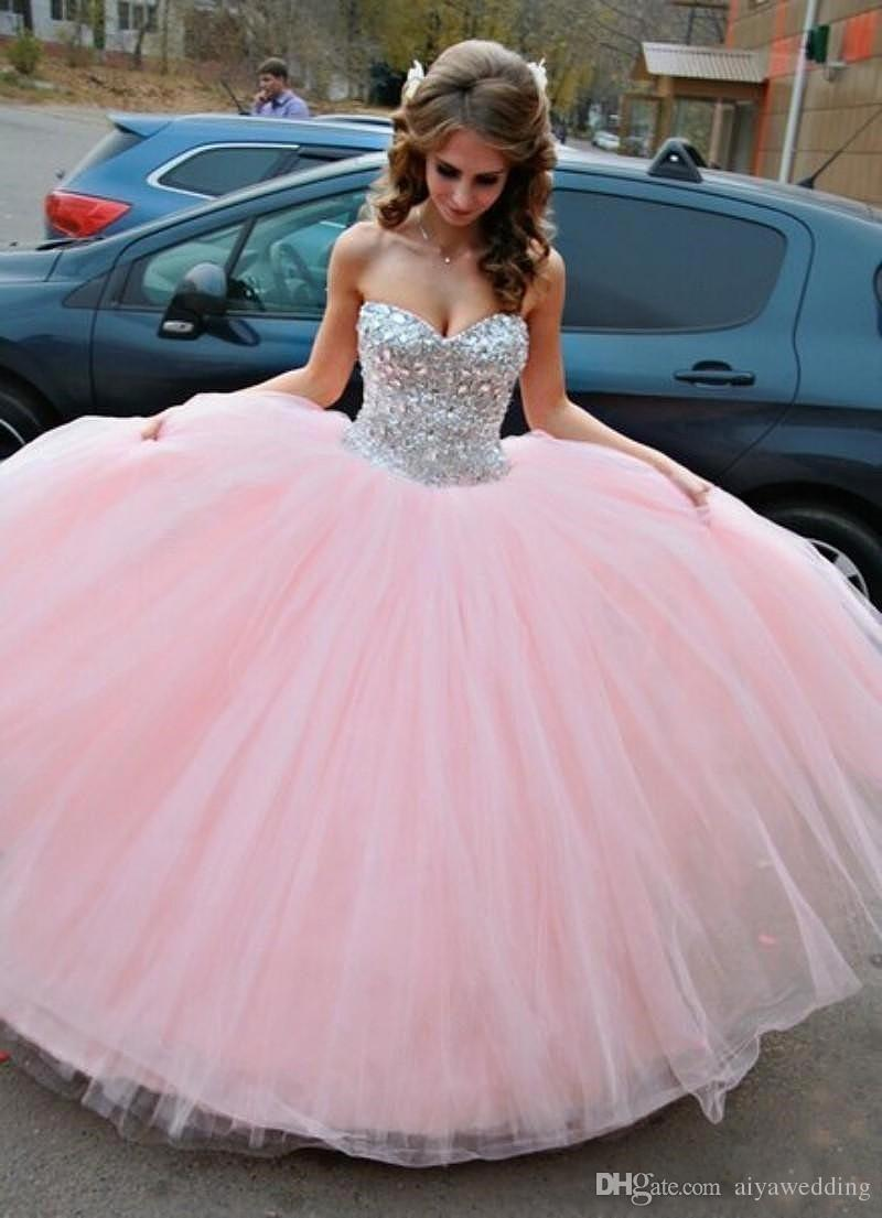 2019 New Blush Pink Sparkle Quinceanera Abiti Backless Beaded Crystals Sweet 16 17 Dresses Sweetheart Ball Gown Tulle Prom Pageant Gowns