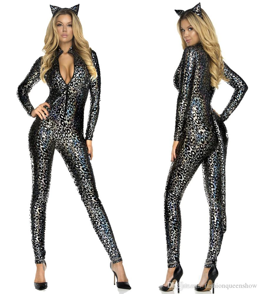 Hot Sale Sexy Women Catsuit Costume Leopard Bodysuit Zipper Front Jumpsuit Halloween Carnival Animal Cosplay Costume Party Costume Themes Halloween Costumes ...  sc 1 st  DHgate.com & Hot Sale Sexy Women Catsuit Costume Leopard Bodysuit Zipper Front ...