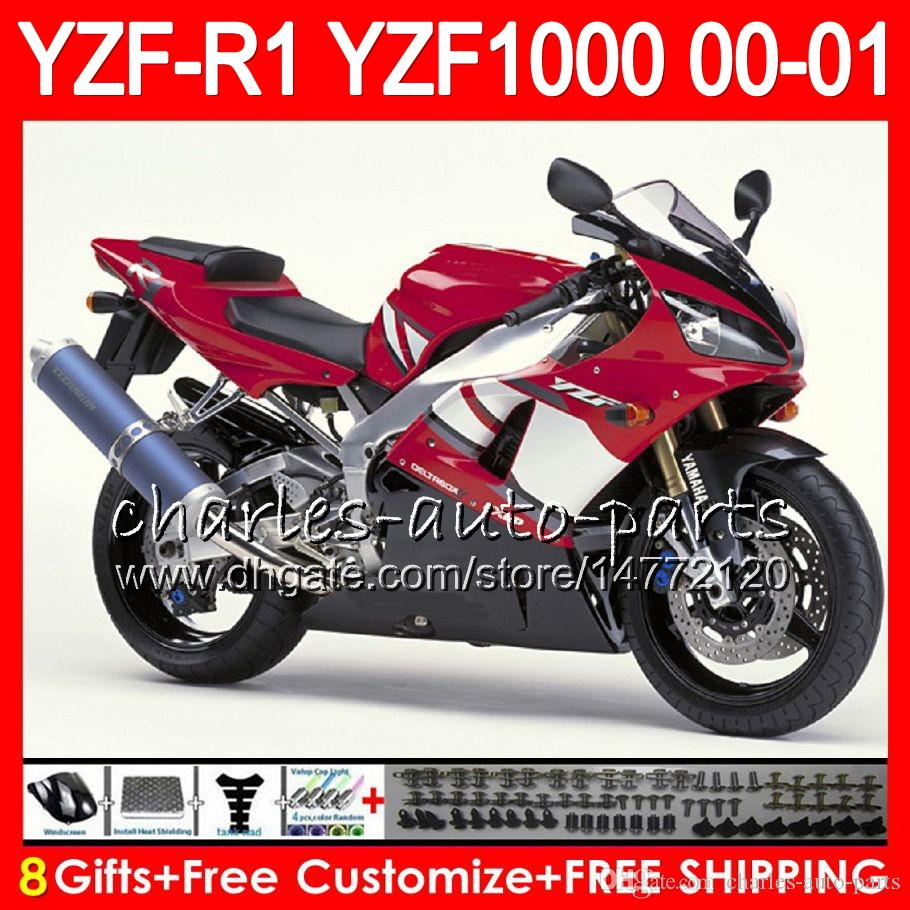 Bodywork For YAMAHA YZF1000 YZF 1000 YZFR1 00 01 98 99 74NO31 Factory red R 1 YZF-R1000 Body YZF-R1 YZF R1 2000 2001 1998 1999 Fairing Kit