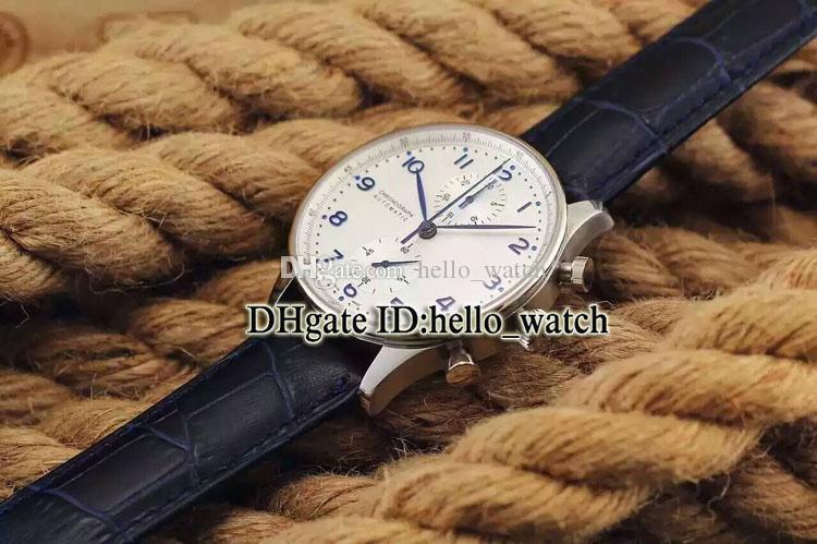 Sonderangebot Hohe Qualität Portugieser IW371446 Weißes Zifferblatt Blaue Skala Quarz Chronograph Herrenuhr Lederband Günstige Uhren