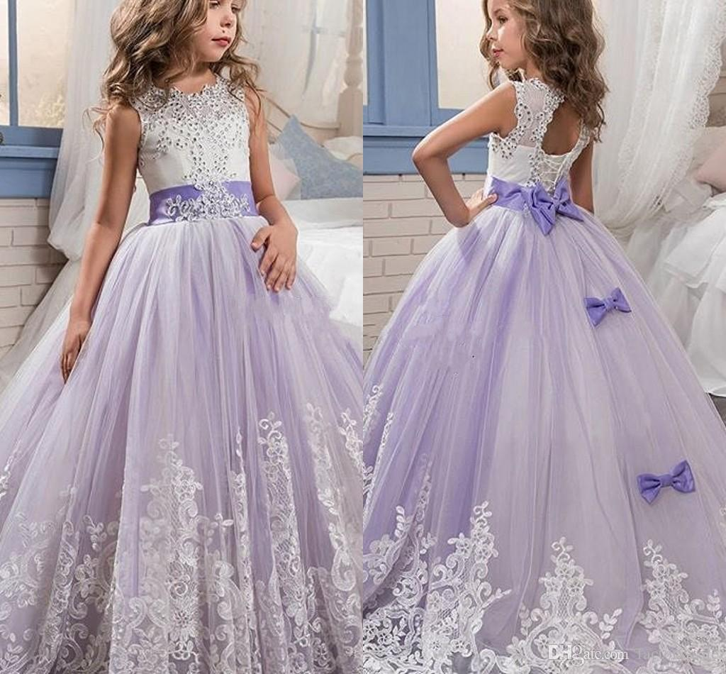 2017 Beautiful Purple And White Flower Girls Dresses Beaded Lace