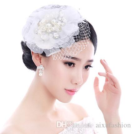 Bride Beautiful Handmade Hair Jewelry Women Lace Net Yarn Pearl Headdress Headband Bridal Wedding Hair Accessories Tiara Crown Headpieces